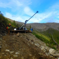 Setting up the track drill at the Tiger Deposit